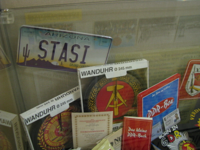 Why there's an Arizona license plate in a Stasi museum, we'll never know.